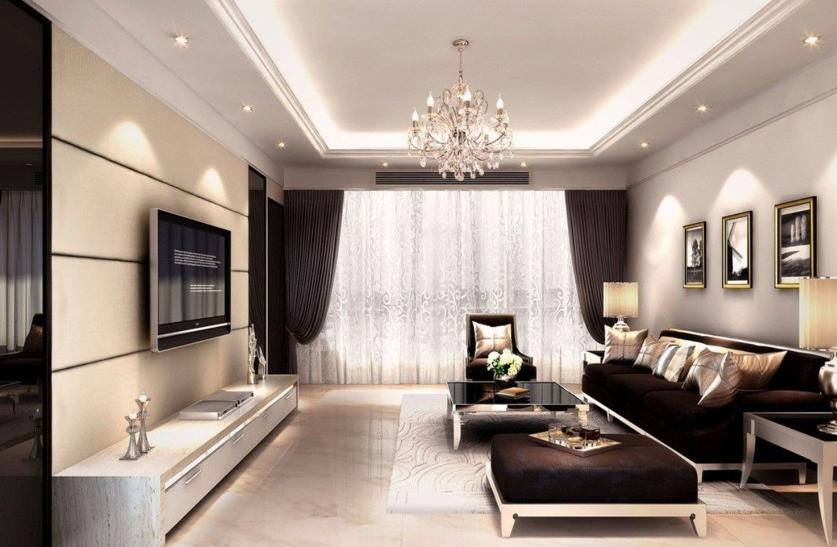 Interior Decoration Living Room Rendering With Tv Wall