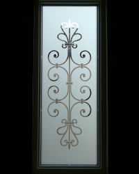 frosted glass entry window ironwork design