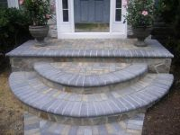 curved pavers in front stoop of houses for curb appeal ...
