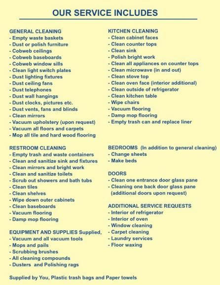 Maid Service Sample Maid Service Agreement - cleaning contract - service list sample