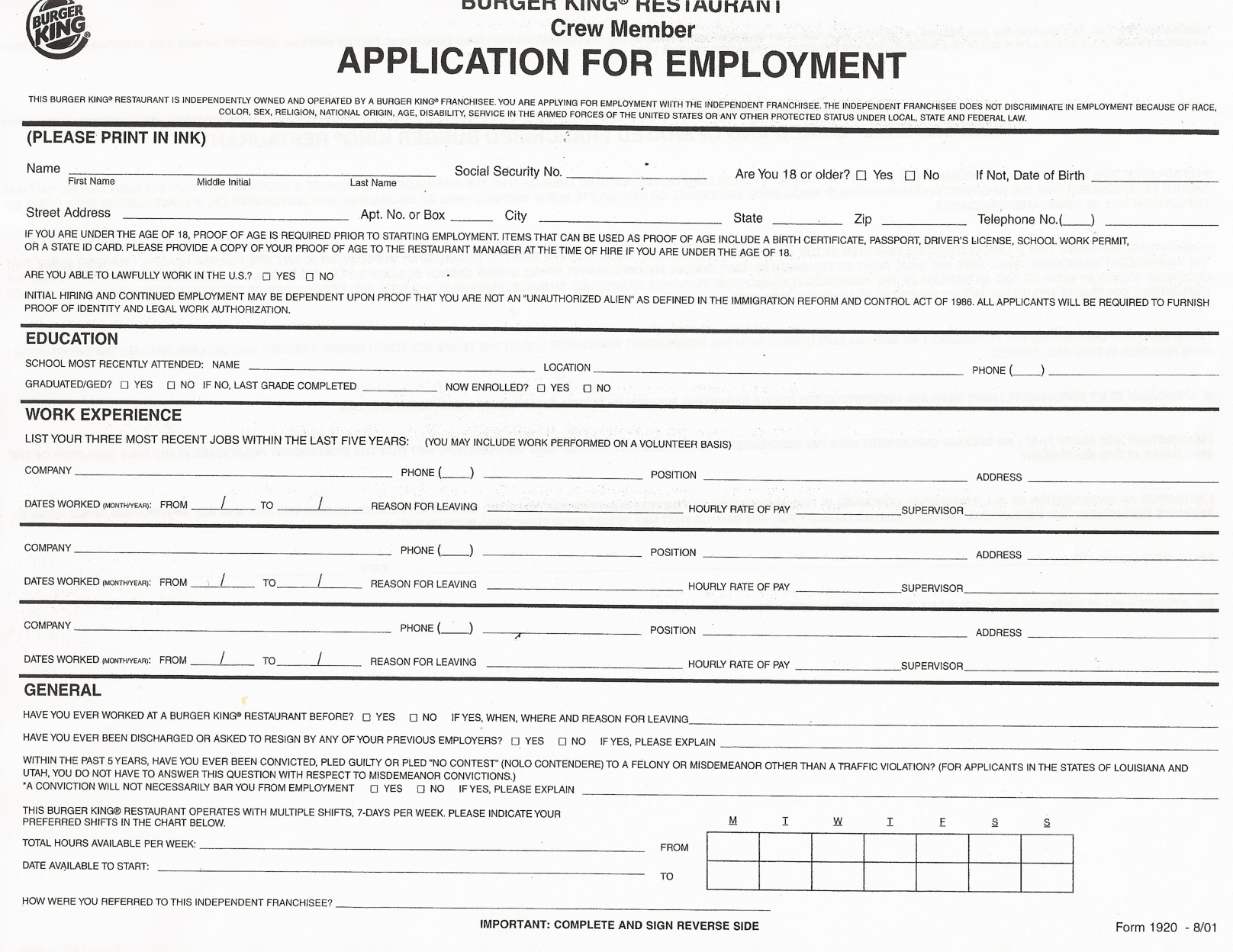 Print Cvs Pharmacy Application Free Printable Generic Job Application Form Pixshark