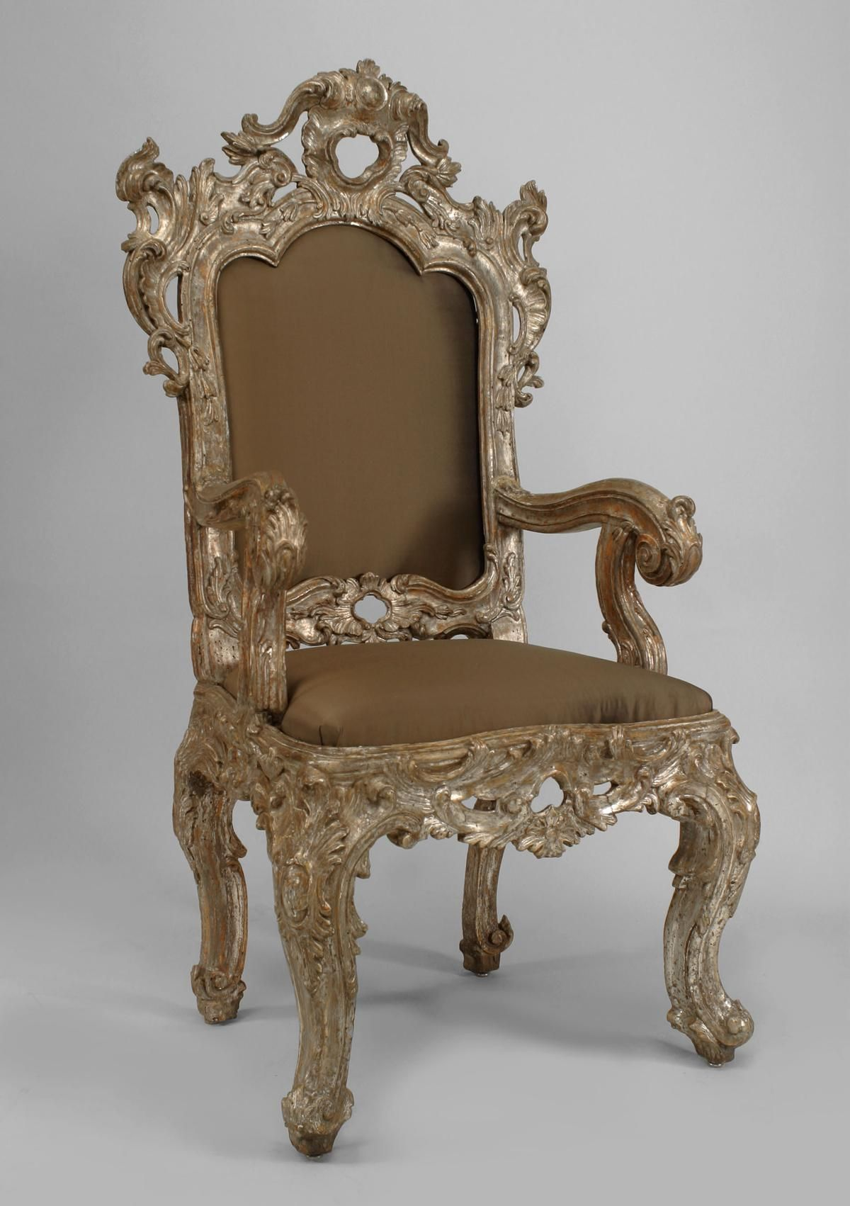 Pair of antique italian rococo high back silver gilt carved throne chairs with beige upholstered