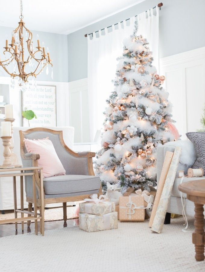 Shabby Pink Christmas Farmhouse Decor and Reno Ideas Pinterest - beautiful decorated christmas trees