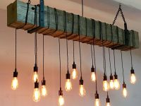 Custom Made Reclaimed Barn Beam Chandelier Light Fixture ...
