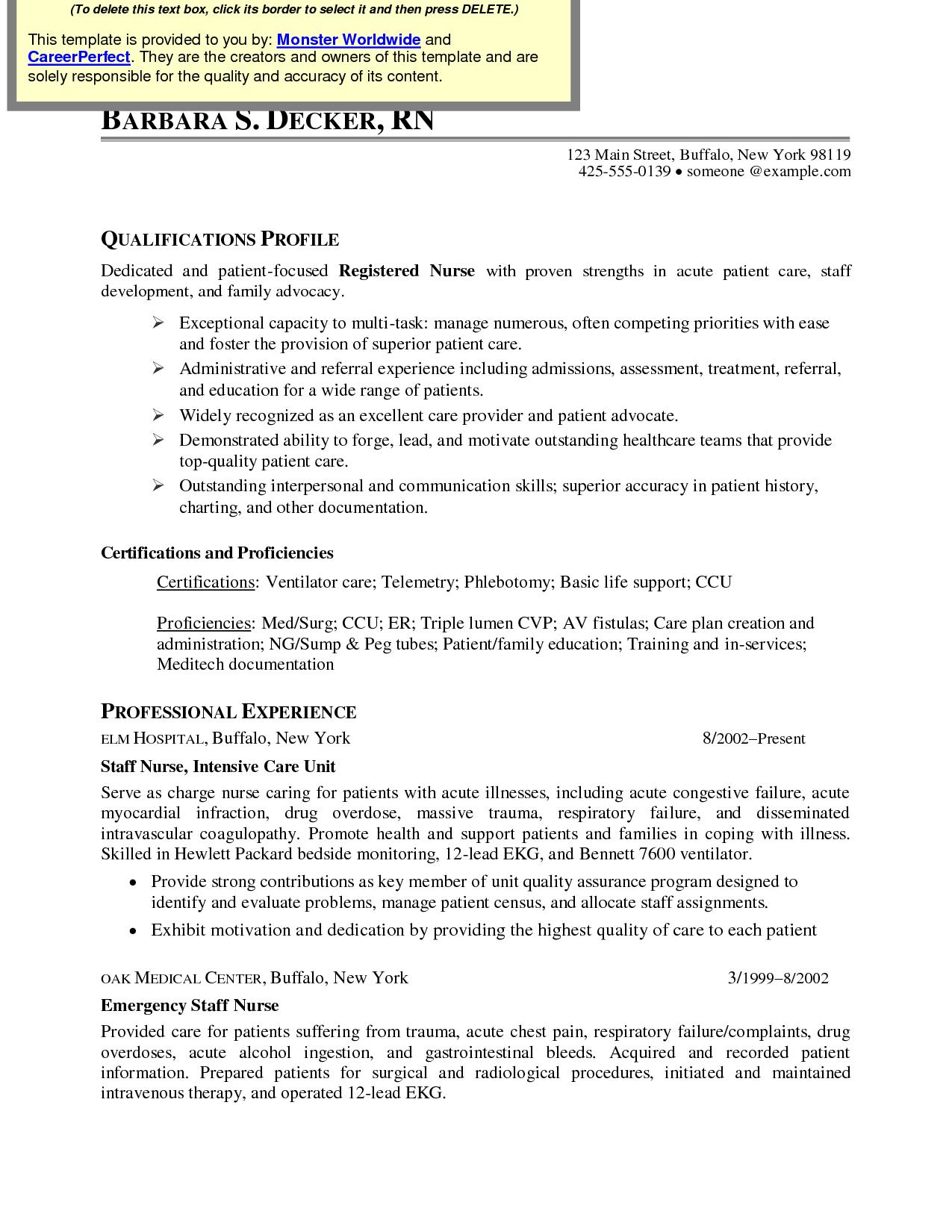job description icu nurse resume