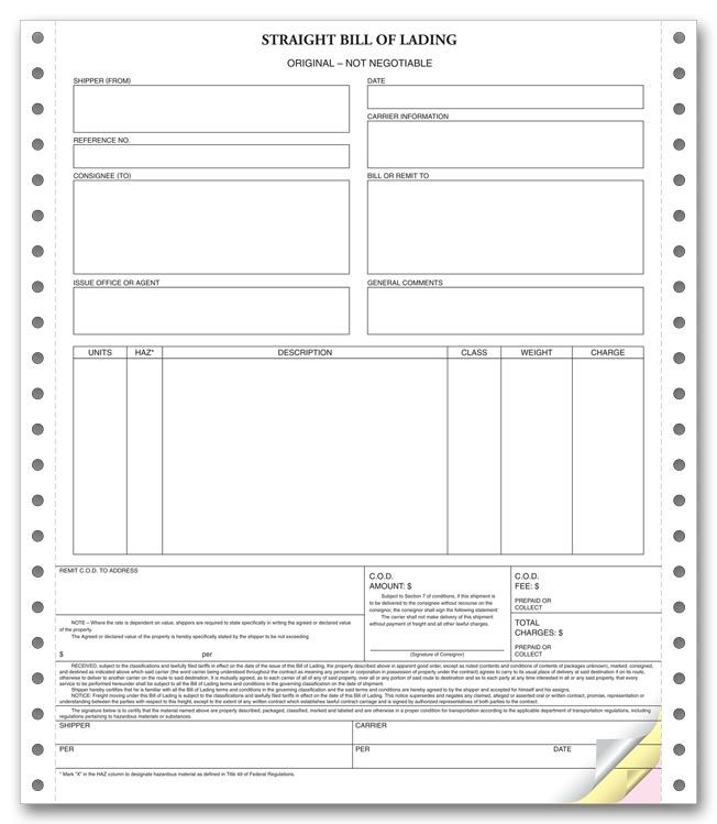 Printable Sample Blank Bill Of Lading Form Real Estate Forms - blank bol form