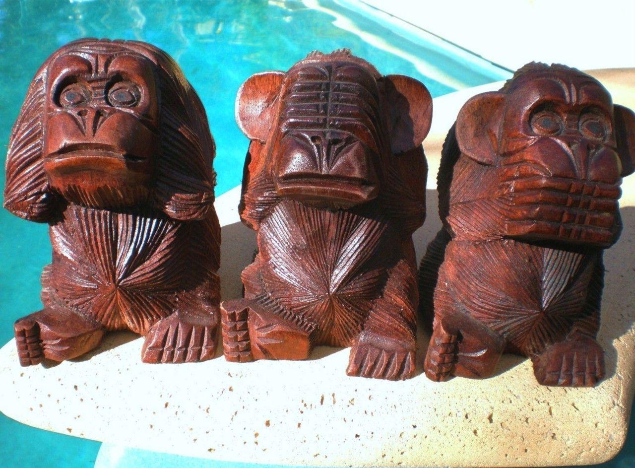 3 wise monkeys see hear speak no evil wood carved statue bali carving balinese