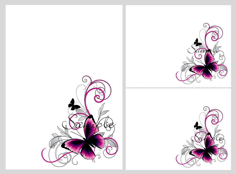 Pretty pink \ black butterflies ~ blank invitation templates - microsoft templates invitations