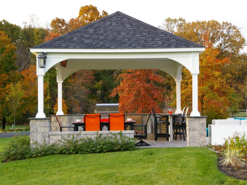 awesome outdoor pavilion plans at the backyard with outdoor - kitchen design plus