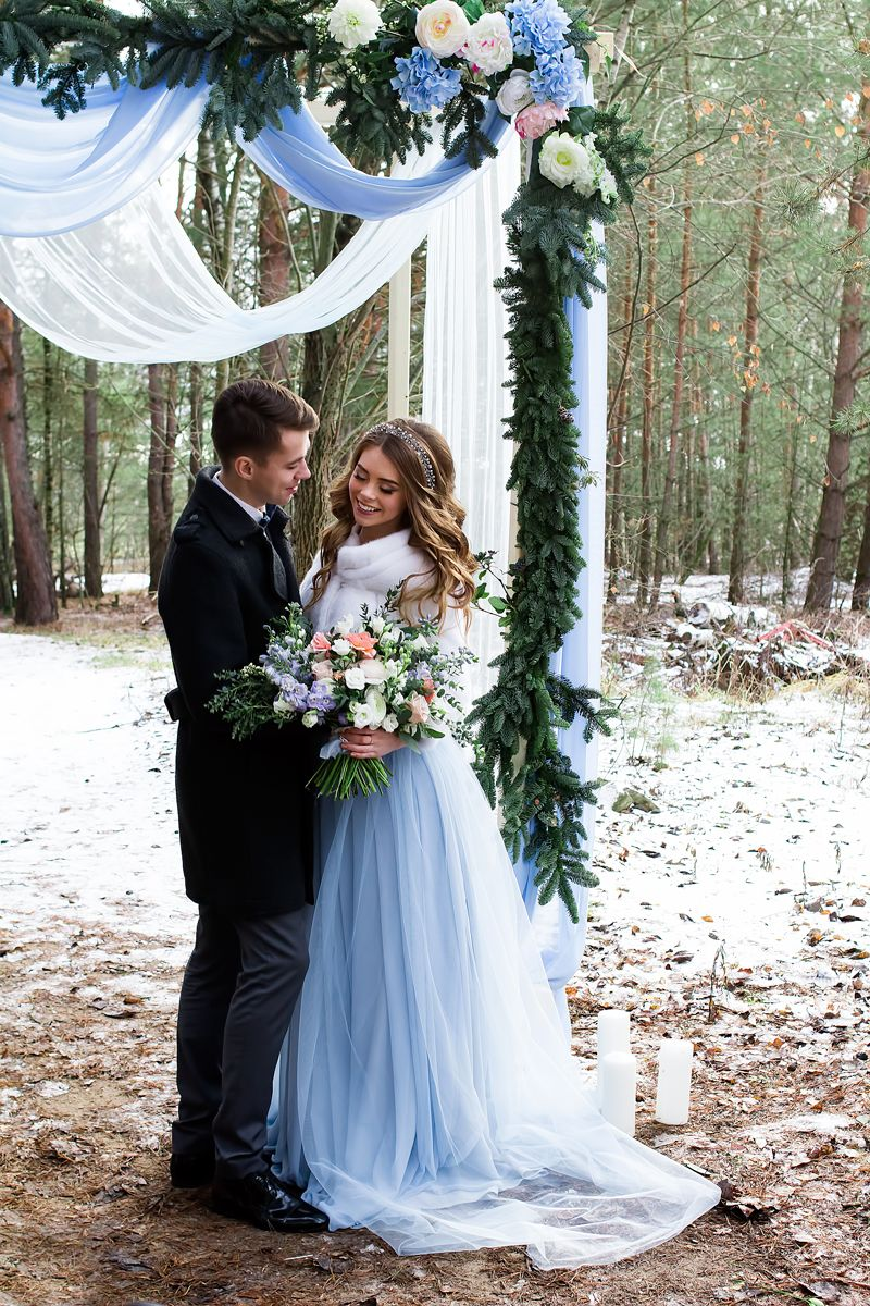 christmas wedding dresses A blue wedding gown for something blue winter wedding styled shoot