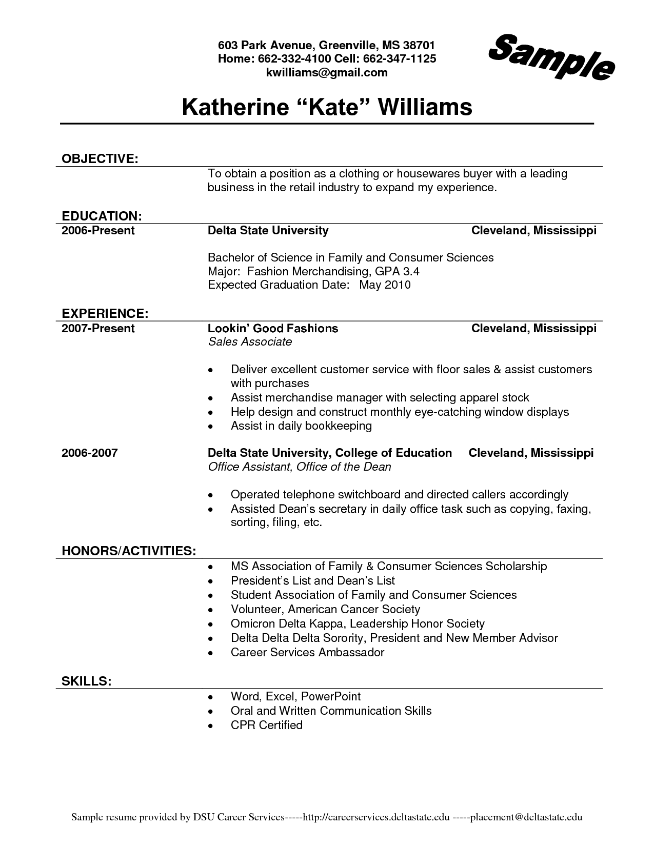 resume examples for stores associates