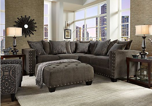 picture of Cindy Crawford Home Sidney Road Gray 2 Pc Sectional - gray living room furniture sets
