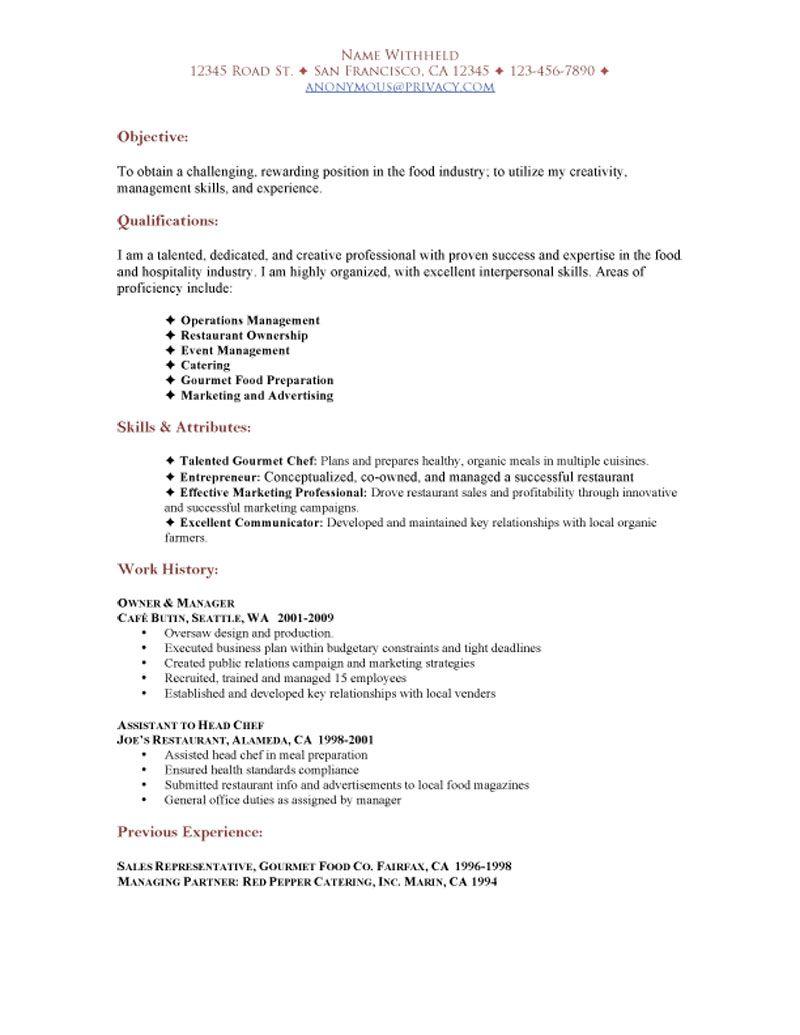 resume to restaurant