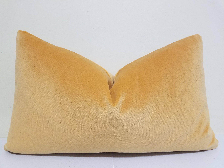 Gold Yellow Velvet Lumbar Pillow Cover