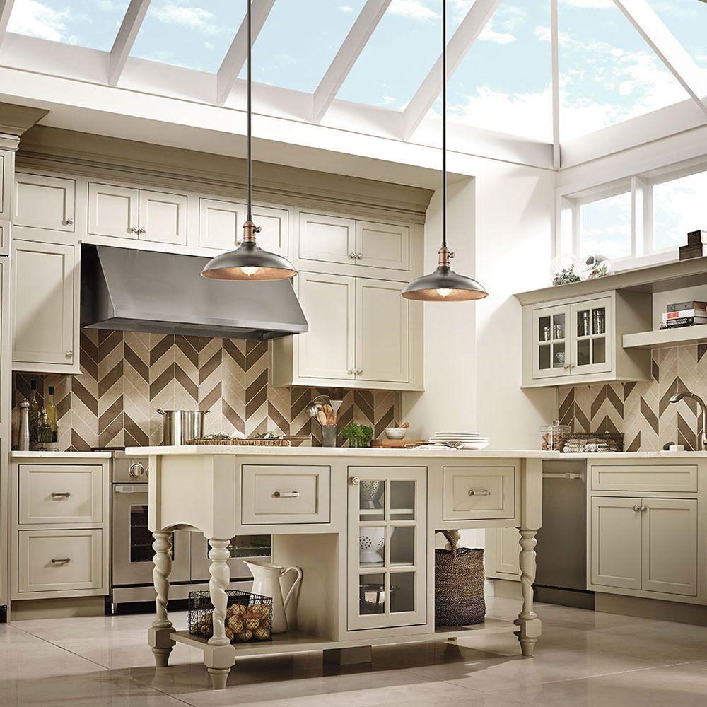 kitchen lighting Kitchen lighting Cobson Collection 1 Light Pendant Semi Flush Natural Brass