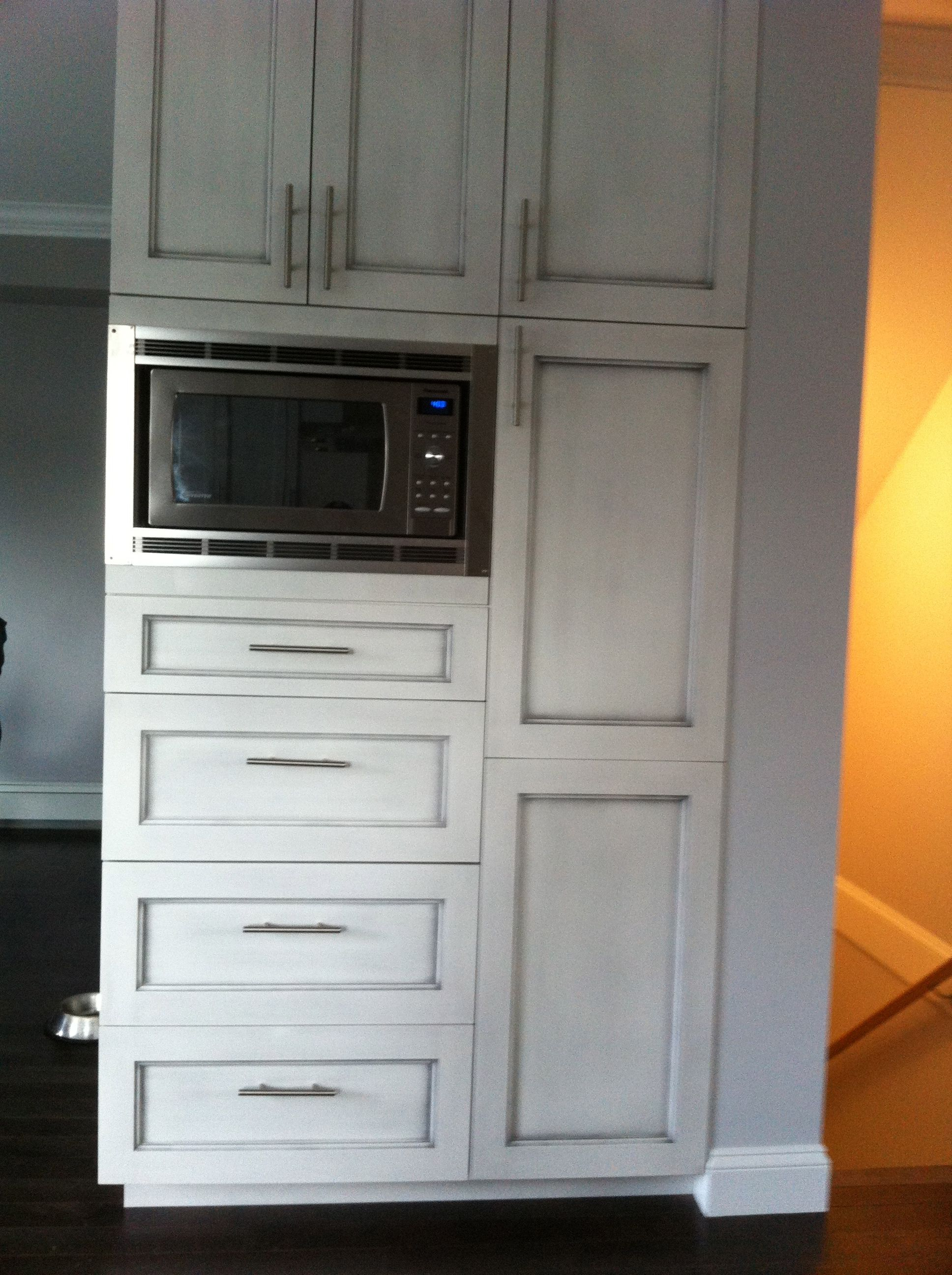 Custom Kitchen Pantry Cabinet Custom Pantry With Built In Microwave And Antique Brushed