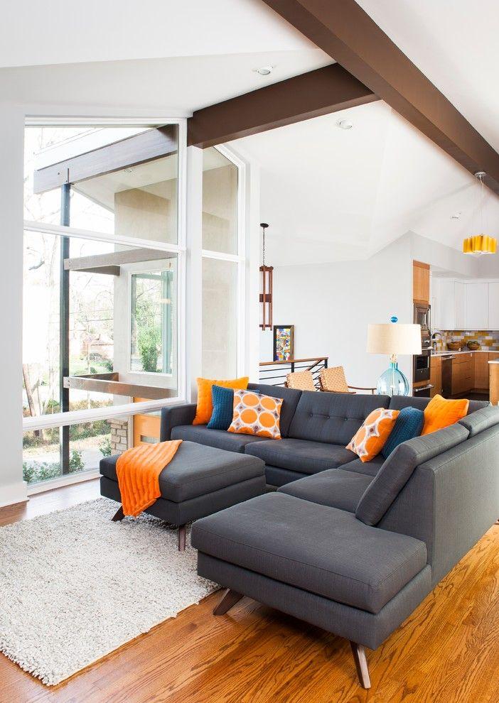 Mid Century Modern Lighting Living Room Midcentury with Area Rug - living room rugs modern