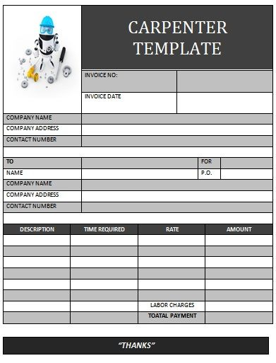 CARPENTER INVOICE TEMPLATE-13 Carpenter Invoice Templates - carpenter invoice template