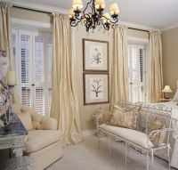 shutters with window drapes