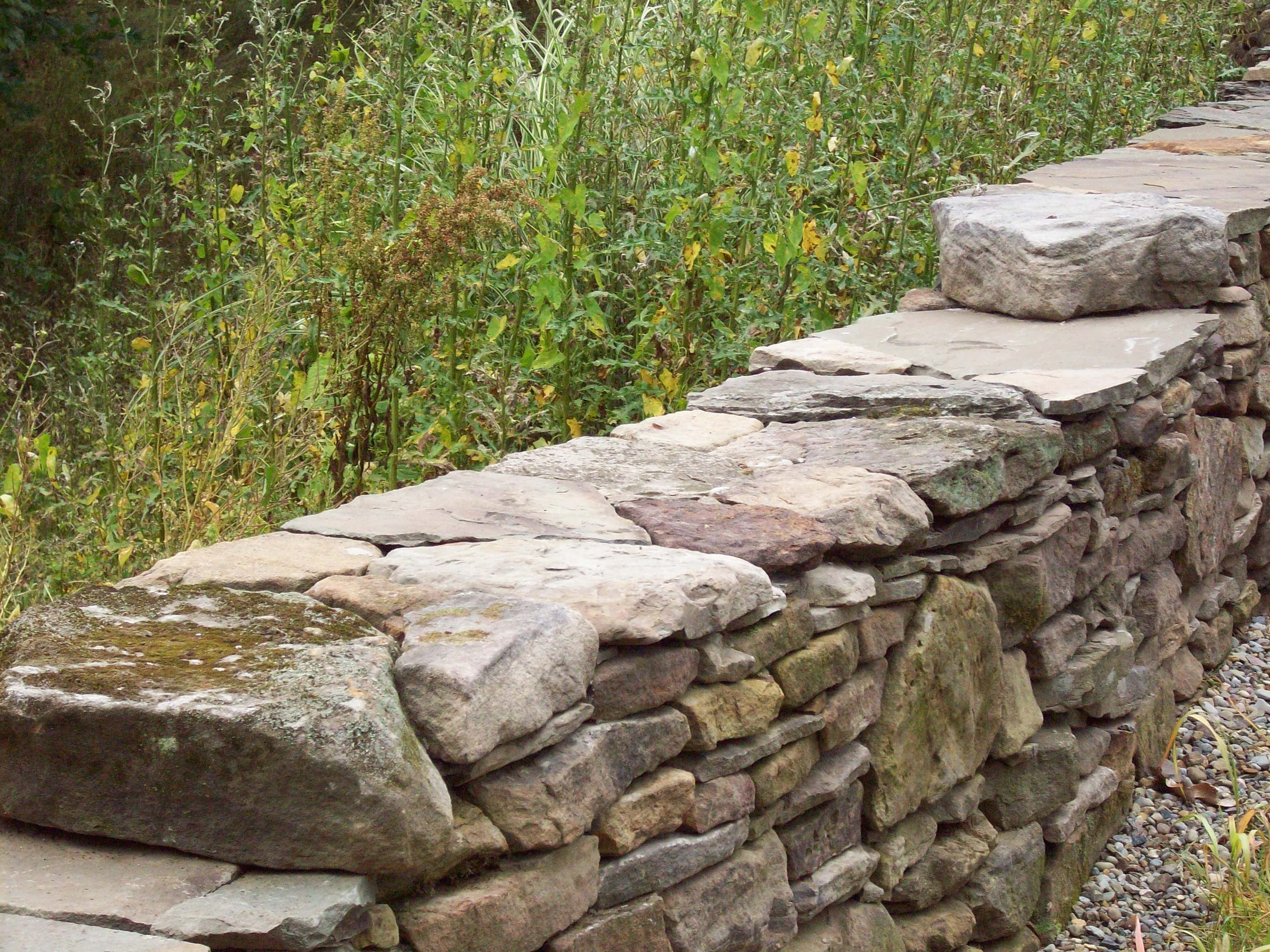 Image detail for detail of dry stack stone retaining wall in green ohio