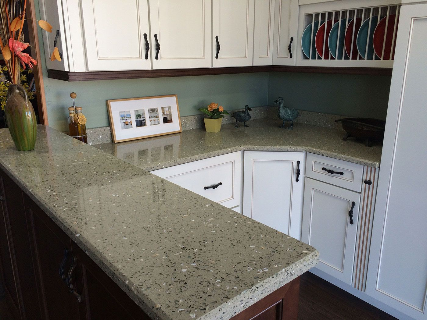 Curava Recycled Glass Countertops Curava In Lemongrass Color Gray With Green Undertone