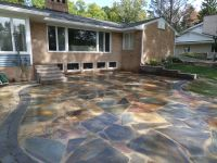 Natural Stone Patio. New York Flagstone with a Oaks ...