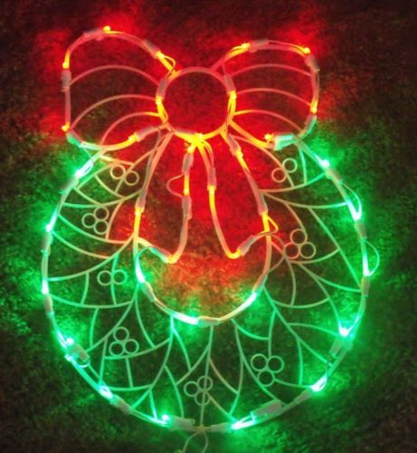 CHRISTMAS LED OUTDOOR LIGHTED DOOR WREATH BOW SIGN WINDOW YARD - outdoor led christmas decorations