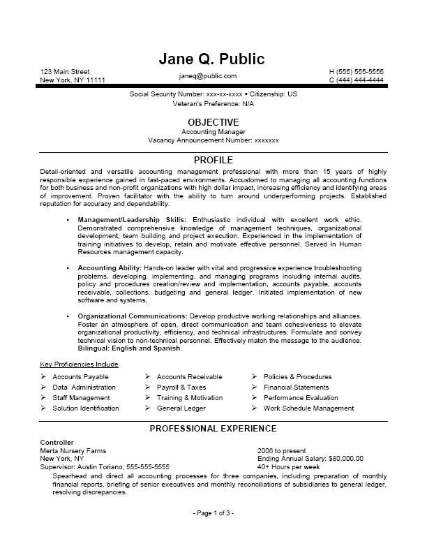 accounting manager resume accounting manager federal resume - federal resume example