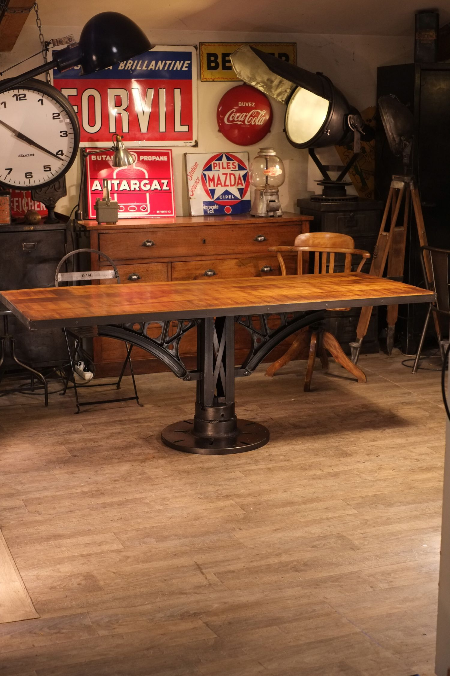 Table Cuisine Industrielle Table Industrielle Pied Fonte Meuble Industriel Vintage