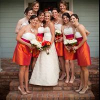 pink and orange bridesmaid dresses