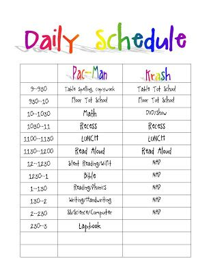 Printable Daily Routine Schedule Template Clipart Autism - daily timetable