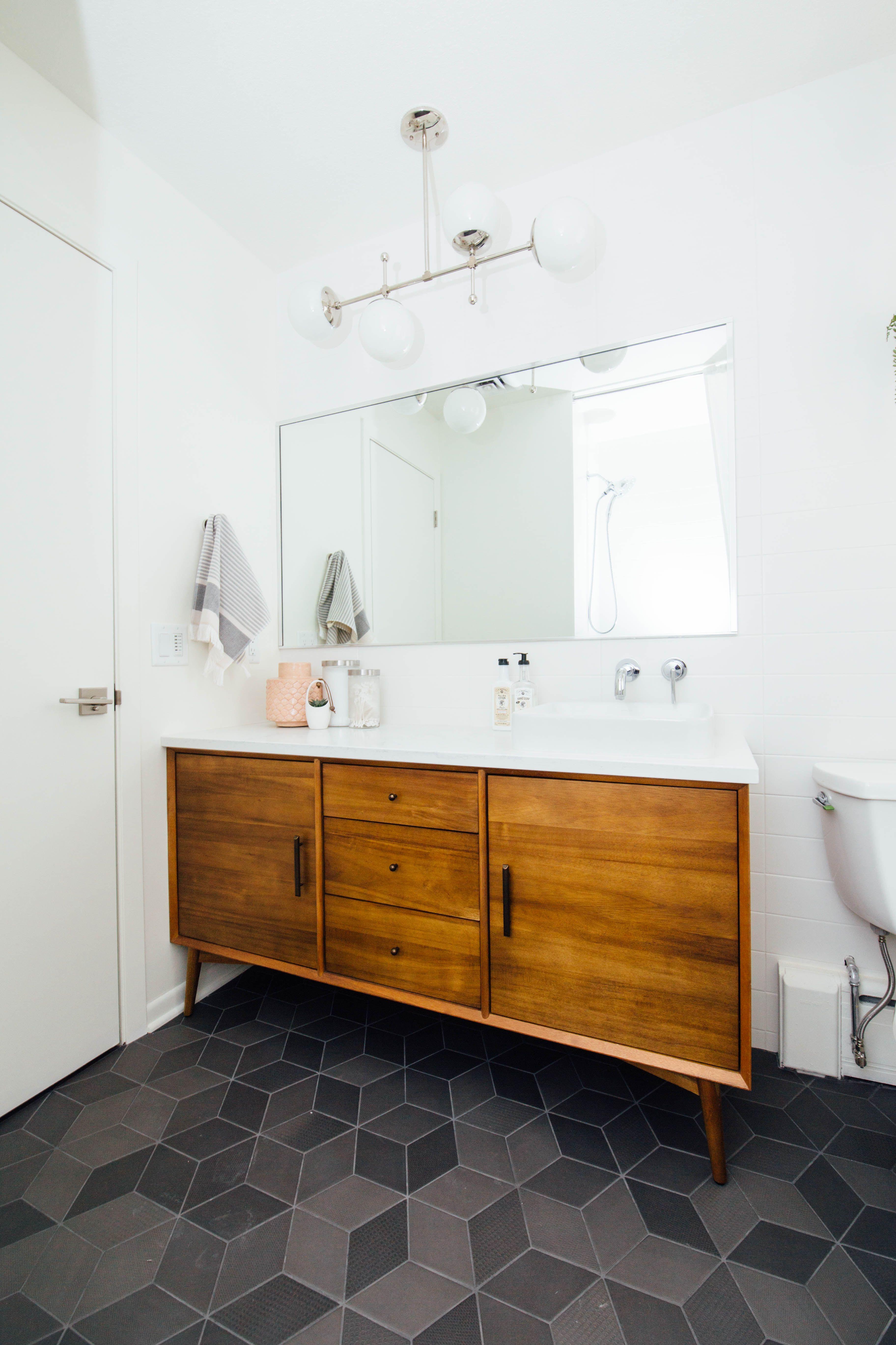Hellorefuge main bathroom reno mutina text tiles west elm vanity dutton brown