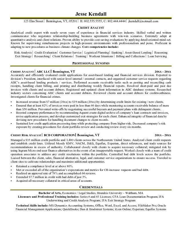 credit analyst resume example Resume Pinterest Resume and - data analyst sample resume