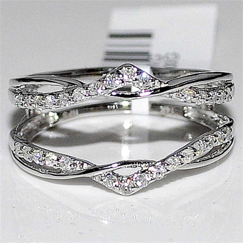 wedding ring wrap Real Diamond Jacket Enhancer Ring Guard 27ct 14K White Gold new MidwestJewellers