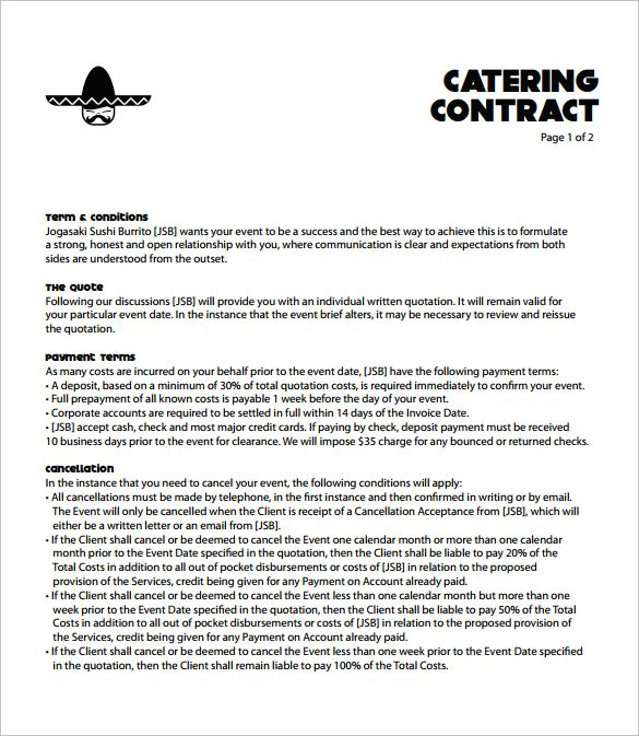 Catering Contract Template Free Catering Templates Pinterest - travel quotation sample