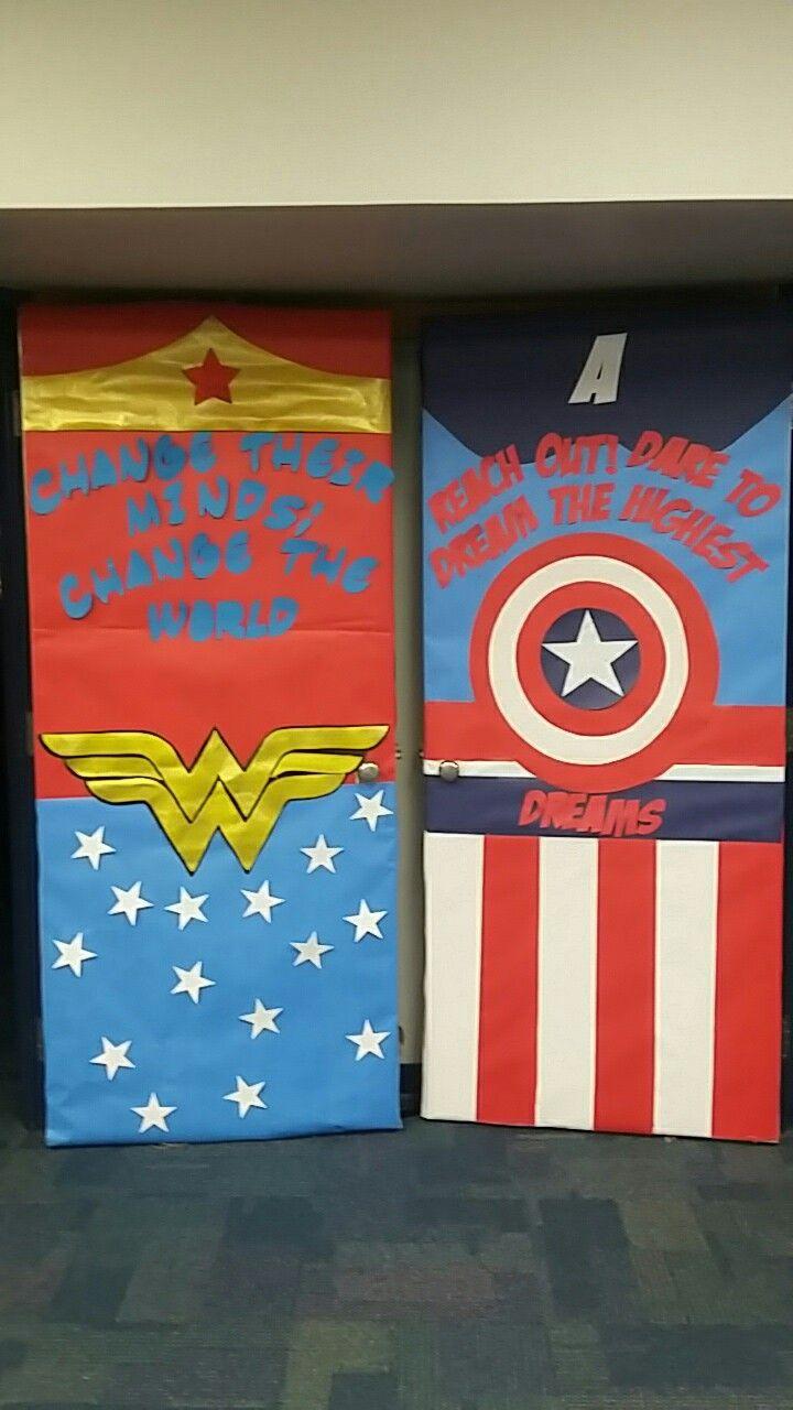 Wonder Woman Captain America classroom door