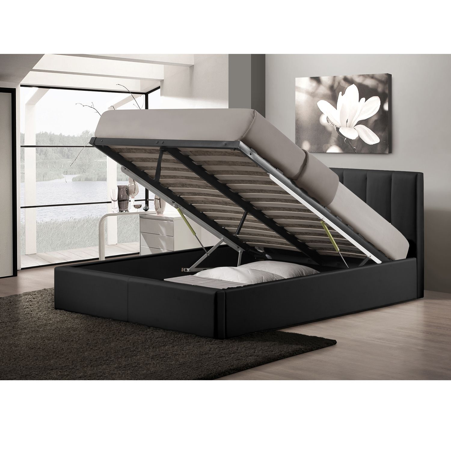 Lift Storage Bed Templemore Black Leather Contemporary Queen Size Gas Lift