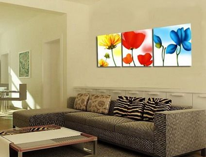 Colorful Flowers Wall Stickers Painting for Modern Wall Art Decor - living room art decor