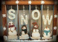 Snowmen painted on old window. | Painting ideas: on deck ...