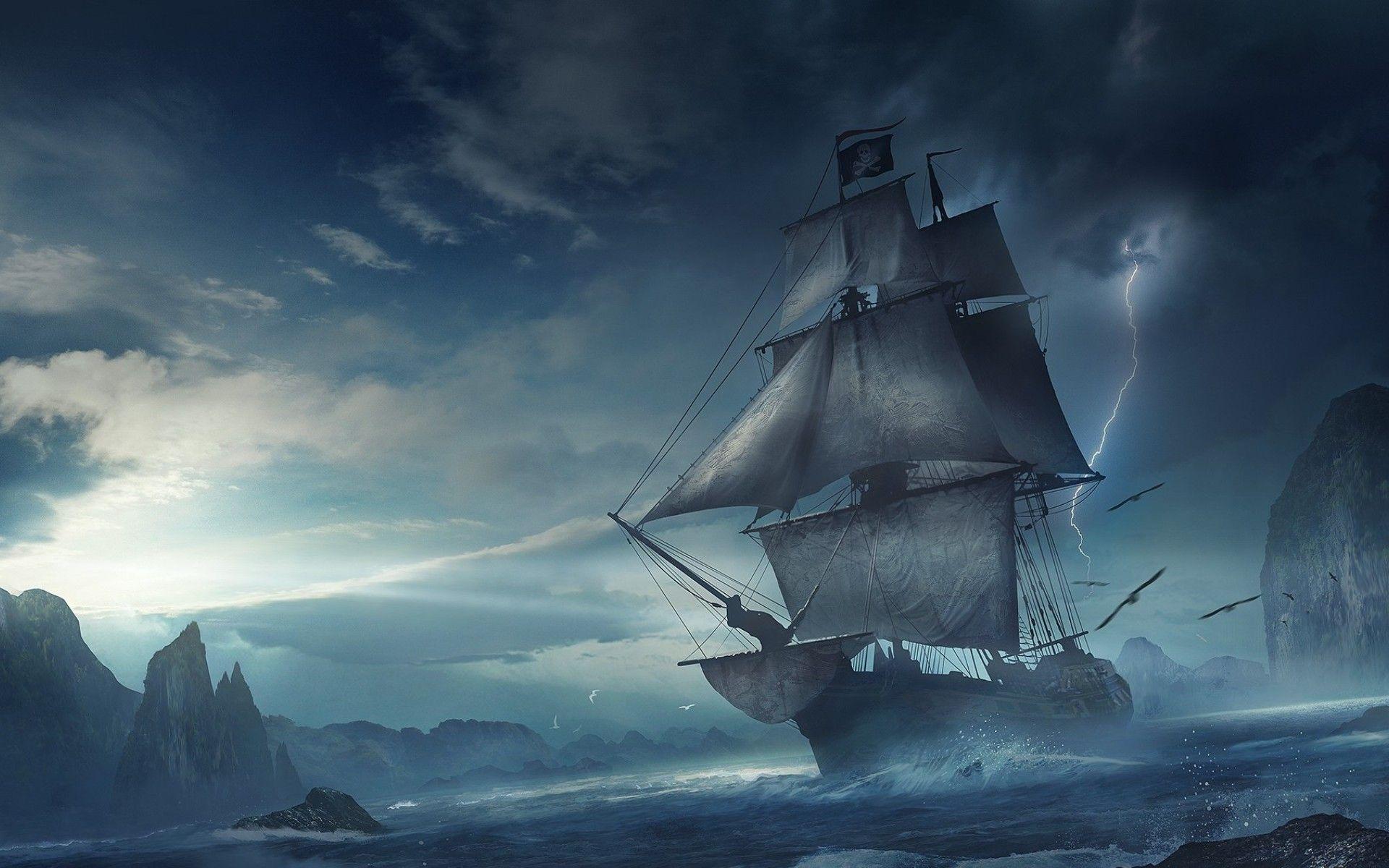 Pirate ship images fantasy ship cliff jolly roger pirate ship rock lightning wallpaper