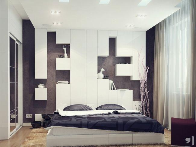 ideen wand schlafzimmer hinter bett weiß braun regale kuben - schlafzimmer wandgestaltung braun