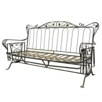 Vintage Wrought Iron Outdoor Patio Glider Swing Sofa ...