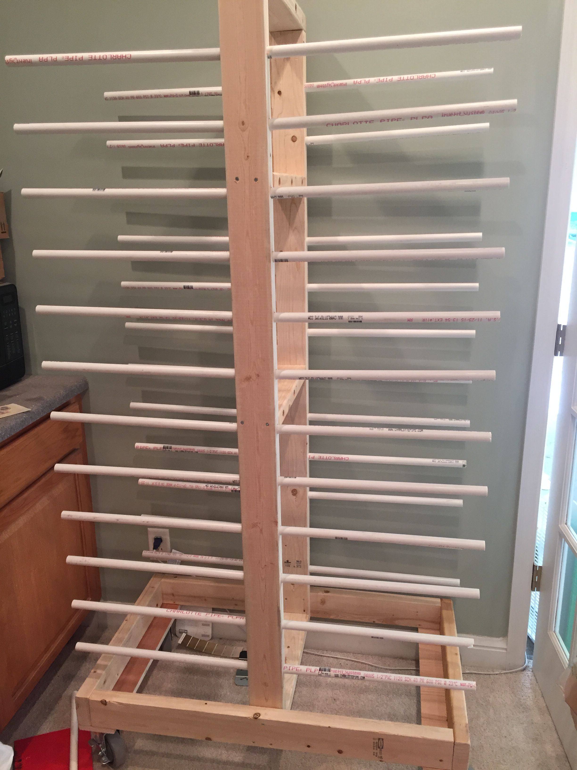 Diy Cabinet Door Drying Rack From Pvc Pipe 2x4 Lumber