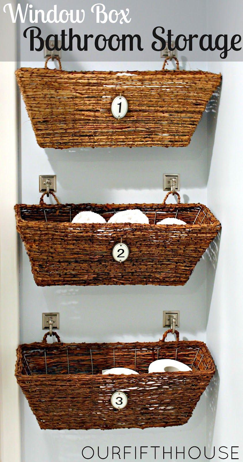 Baskets window box bathroom storage great