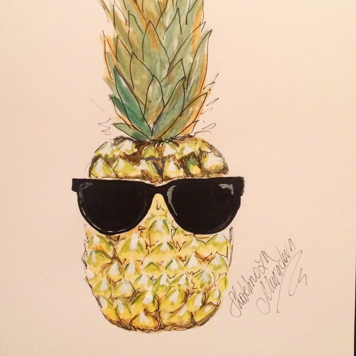 Pineapple With Sunglasses Tumblr Cool Pineapple Illustration By Shakhnoza Muradova