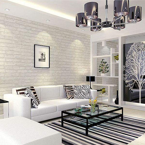 White Grey Real Looking Brick Pattern Wallpaper Wp120