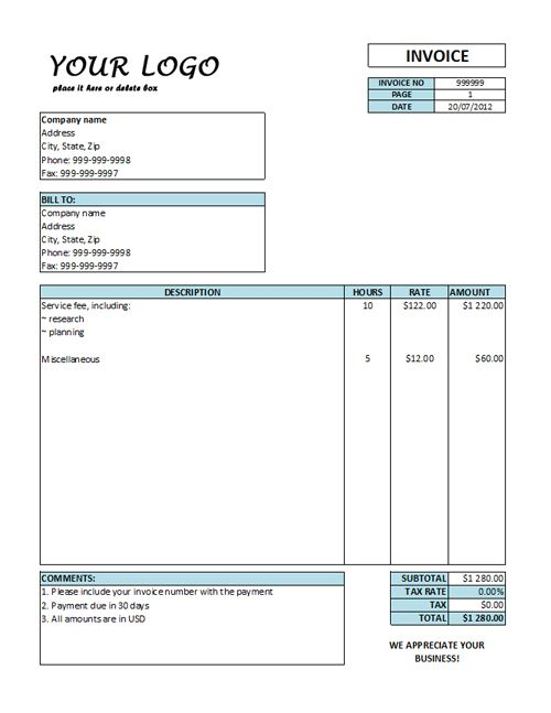 Hourly Invoice Template Hourly Rate Invoice Templates Free - carpenter invoice template