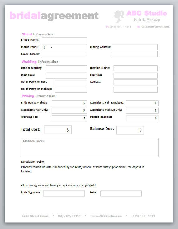 Freelance Hair Stylist \ Makeup Artist Bridal Agreement Contract - wedding contract template