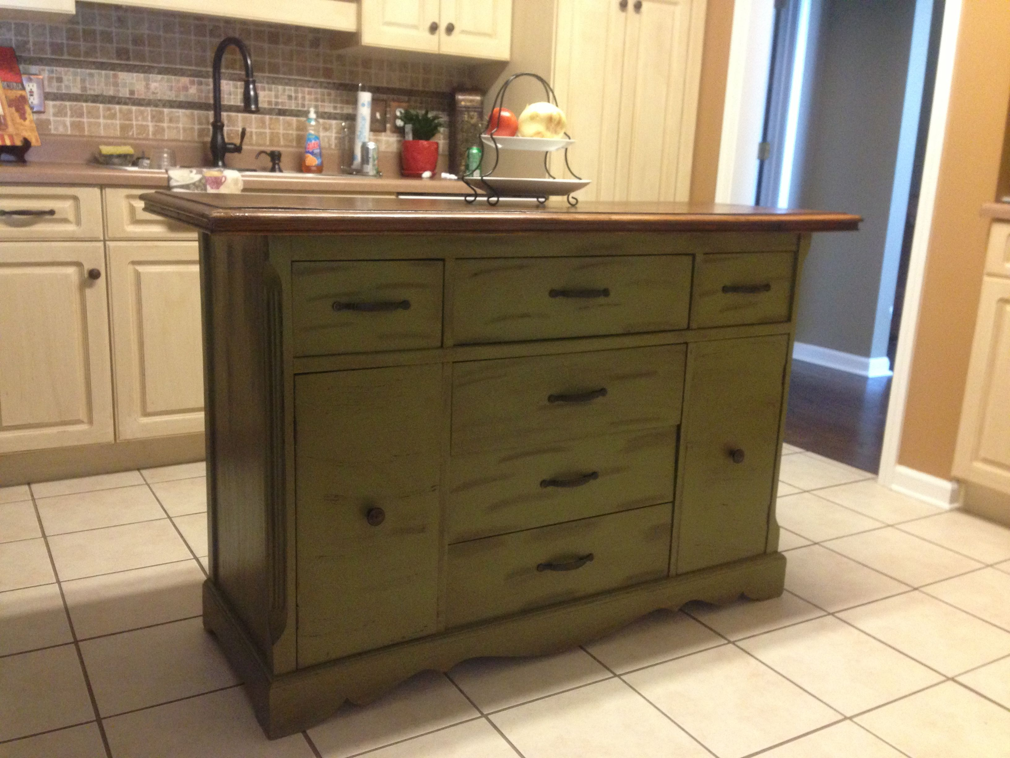 Kitchen Cabinets Made Into Island Repurposed Antique Buffet Made Into Kitchen Island For