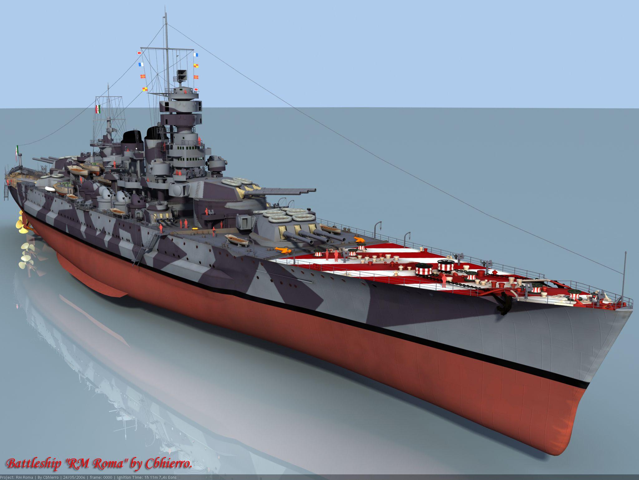Cg drawing of italian battleship roma